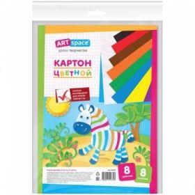 Картон цветной A4 ArtSpace немелованный, 8 листов, 8 цветов