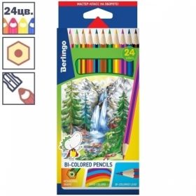 """Карандаши цветные Berlingo """"Водопад"""" с двухцветным грифелем, 12 штук, 24 цвета"""