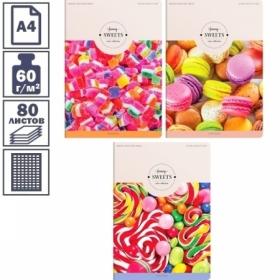 """Тетрадь А4 в клетку на скрепке ArtSpace """"Стиль. Funny sweets"""", 80 листов"""