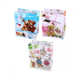 """Пакет подарочный ламинированный """"Цветы/бабочки"""", размер L, в ассортименте"""
