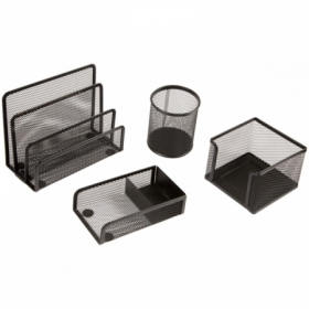 """Настольный набор из металла Berlingo """"Steel Style"""", 4 предмета, черный"""