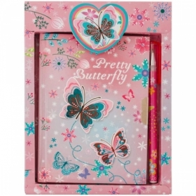 """Записная книжка 7БЦ А6 ArtSpace """"Butterfly"""" с замком + шариковая ручка"""