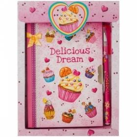 """Записная книжка 7БЦ А6 ArtSpace """"Cupcake"""" с замком + шариковая ручка"""