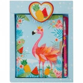 """Записная книжка 7БЦ А6 ArtSpace """"Flamingo"""" с замком + шариковая ручка"""