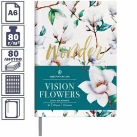 "Записная книжка А6 ЛАЙТ Greenwich Line ""Vision.Flowers"", 80 листов"