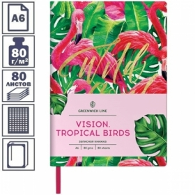 "Записная книжка А6 ЛАЙТ Greenwich Line ""Vision.Tropicalbirds"", 80 листов"