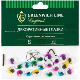 "Материал декоративный Greenwich Line ""Глазки"" с ресничками, 10 мм, 20 шт."