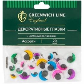 """Материал декоративный Greenwich Line """"Глазки"""" с цветными ресничками, ассорти, 20 шт."""