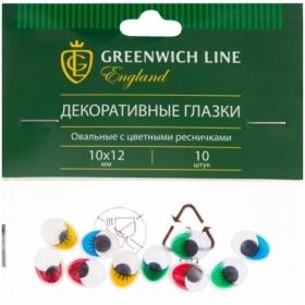"""Материал декоративный Greenwich Line """"Глазки"""" с цветными ресничками, овальные, 10х12 мм, 10 шт."""
