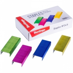 Скобы для степлера №24/6 Berlingo цветные, 1000 шт