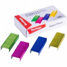 Скобы для степлера Berlingo цветные 1000 шт, в ассортименте