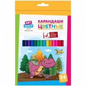 """Карандаши цветные ArtSpace """"Динозаврики"""", 36 цветов, заточенные"""