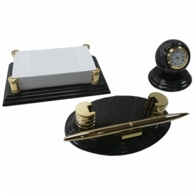 Набор настольный подарочный Delucci 3 предмета, черный мрамор с золотой отделкой