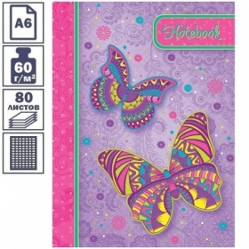 """Бизнес-блокнот А6 Hatber """"Ах эти бабочки!"""" с поролоном, 80 листов"""