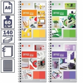 """Записная книжка А6 на гребне ArtSpace """"Офис. Яркие краски"""", 140 листов"""