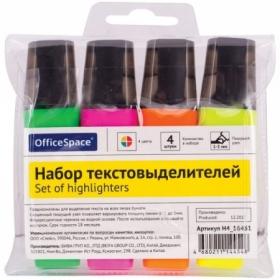Набор текстовыделителей OfficeSpace 4 цвета, 1-5 мм