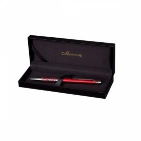Ручка шариковая MARINELLA, красный корпус, подарочный футляр из кожзама
