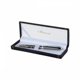 Ручка шариковая MASSA, корпус темный металл, подарочный футляр из кожзама