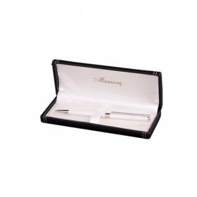 Ручка шариковая RIETI, белый корпус, подарочный футляр из кожзама