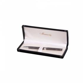 Ручка шариковая RIETI, черный корпус, подарочный футляр из кожзама