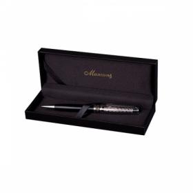 Ручка шариковая TRENTO, черный корпус, подарочный футляр из кожзама