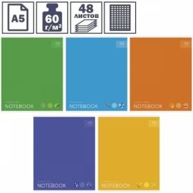 """Тетрадь А5 в клетку на скрепке ArtSpace """"Моноколор. Яркие акценты"""", 48 листов"""