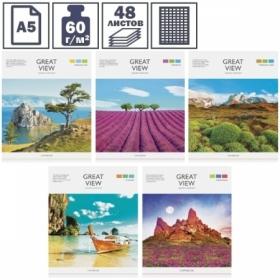 """Тетрадь А5 в клетку на скрепке ArtSpace """"Путешествия. Great views"""", 48 листов"""
