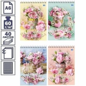 """Блокнот А6 BG """"Розовый букет"""" в клетку на гребне, 40 листов"""
