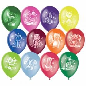 """Воздушные шарыПоиск """"Веселый зоопарк"""" М12/30 см, пастель+декор, растровый рисунок, 50 шт"""