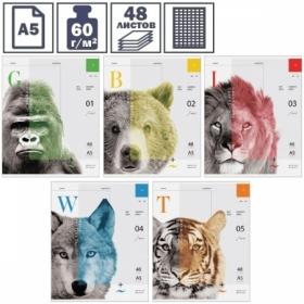"Тетрадь А5 в клетку на скрепке ArtSpace ""Природа. Face of wildlife"", 48 листов"