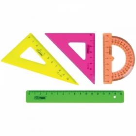 """Набор чертежный малый Стамм """"Neon"""" (2 треугольника, линейка 16 см, транспортир)"""