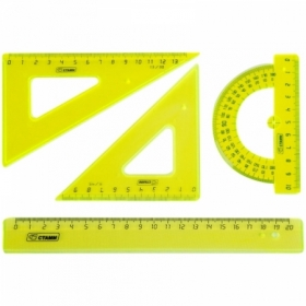 """Набор чертежный средний Стамм """"Neon Cristal"""" (2 треугольника, линейка 20 см, транспортир)"""