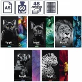 """Тетрадь А5 в клетку на скрепке ArtSpace """"Животные. Bright black"""", 48 листов"""