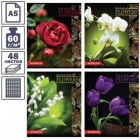 """Тетрадь А5 в клетку на скрепке ArtSpace """"Цветы на темном"""", 48 листов, эконом"""