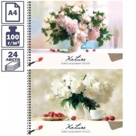 """Альбом для рисования А4 на гребне ArtSpace """"Цветы. Нежные букеты"""", 24 листа"""