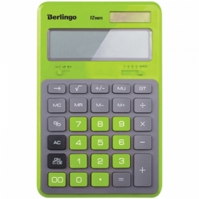 """Калькулятор настольный Berlingo """"Hyper"""", 12 разрядов, зеленый"""
