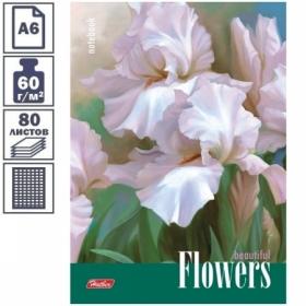 """Бизнес-блокнот А6 Hatber """"Белые ирисы"""", 80 листов"""