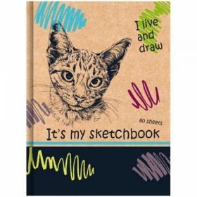 """Скетчбук А5 BG """"Мой кот"""", 80 листов, бежевый тонированный блок"""
