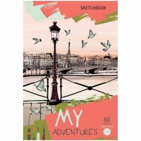 """Скетчбук А5 BG """"Рассвет в Париже"""", 80 листов, салатовый тонированный блок"""