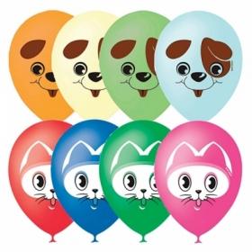 """Воздушные шары Поиск """"Кот и Пес"""" М12/30см, пастель+декоратор, 25 шт"""
