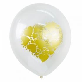 """Воздушные шары Поиск """"Сердце золото"""" M12/30см, 25 шт"""