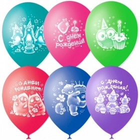 """Воздушные шары Поиск """"Зверушки-Игрушки С Днем Рождения"""" M10/25см, пастель+декор, 50 шт"""
