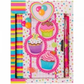 """Записная книжка 7БЦ А6 ArtSpace """"Cupcake"""" с замком + шариковая ручка, 64 листа"""
