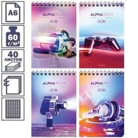 "Блокнот А6 на гребне ArtSpace ""Увлечения. Neon. Alphatech"", 40 листов"