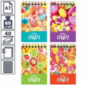 """Блокнот А7 на гребне ArtSpace """"Леденцы. Colorful candy"""", 40 листов"""