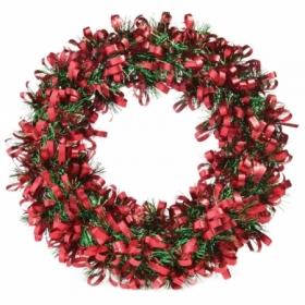 Венок новогодний красно-зеленый, диаметр 28 см