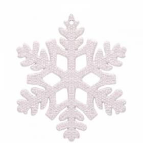 """Елочное украшение пластиковое """"Снежинка"""" 10,5х10,5 см, белая"""