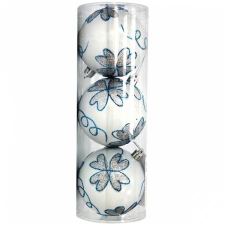 Набор пластиковых шаров 3 шт, 80 мм, белый