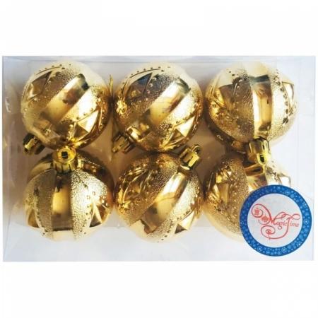 """Набор пластиковых шаров """"Геометрия"""" 6 шт, 60 мм, золото"""