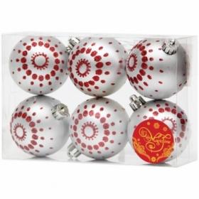 """Набор пластиковых шаров """"Серебряный с красными точками"""" 6 шт, 60 мм"""